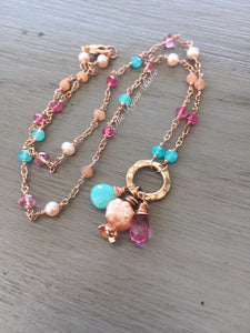 Pink Topaz and Turquoise Necklace Rose Gold Filled