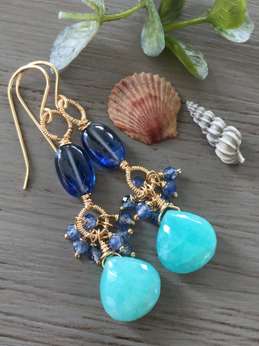 Amazonite and Kyanite Cluster Earrings