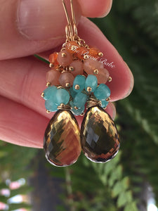Cognac Quartz Earrings
