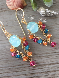 Aqua Chalcedony Chandelier Earrings with Multi Gems