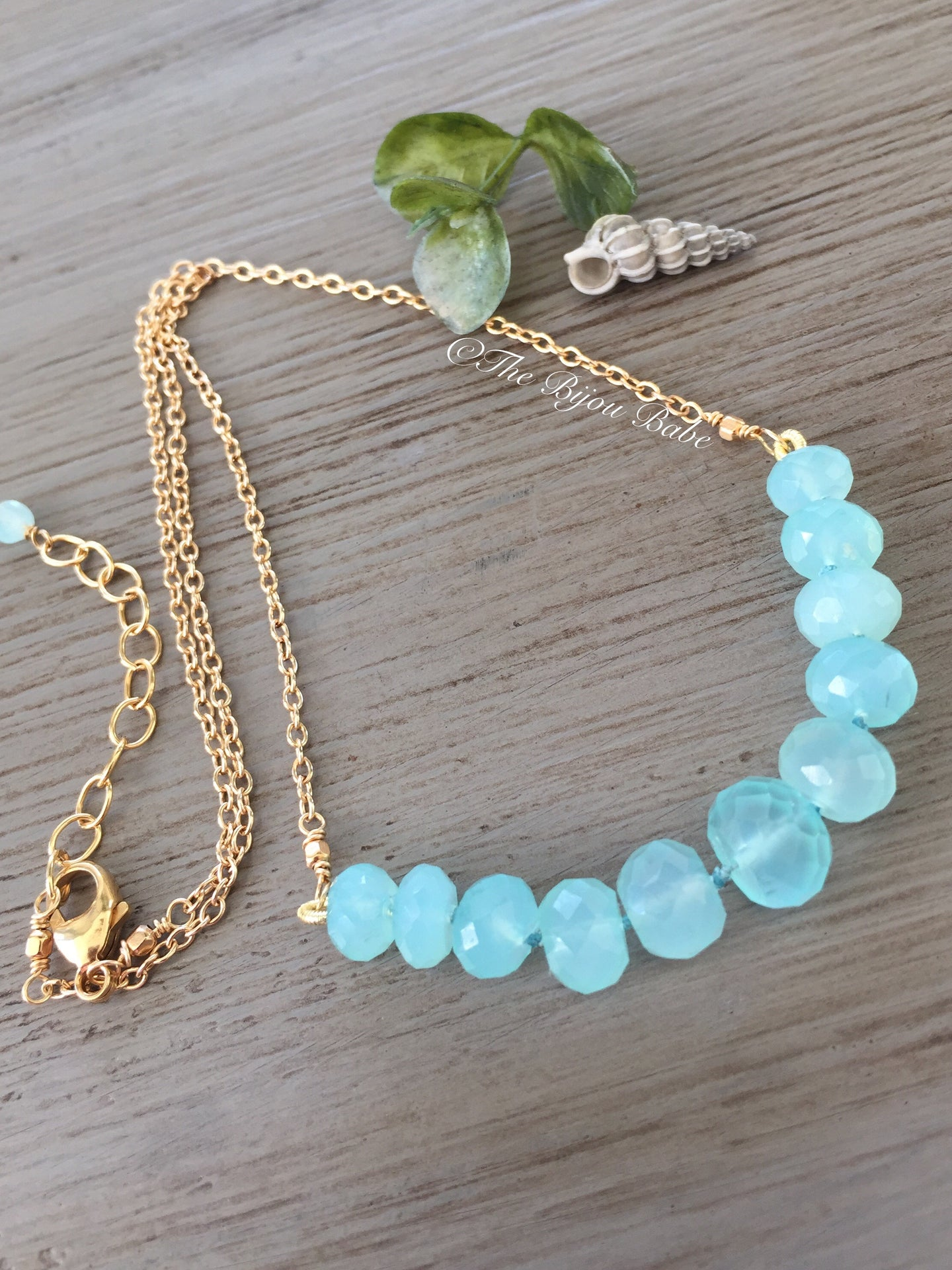 Aqua Chalcedony Candy Necklace