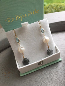 14kt Gold Pearl and Blue Topaz Earrings