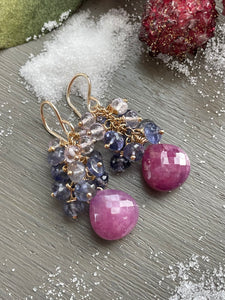 Reserved for Linda- Pink Sapphire and Iolite Sugar Plum Earrings