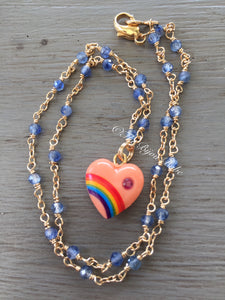 Vintage Acrylic Rainbow Heart Necklace with Sapphires