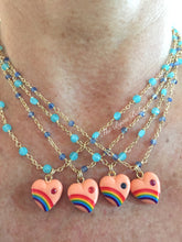 Load image into Gallery viewer, Vintage Acrylic Rainbow Heart Necklace with Sapphires