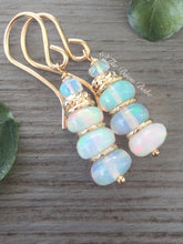 Load image into Gallery viewer, Ethiopian Opal Rondelle Earrings