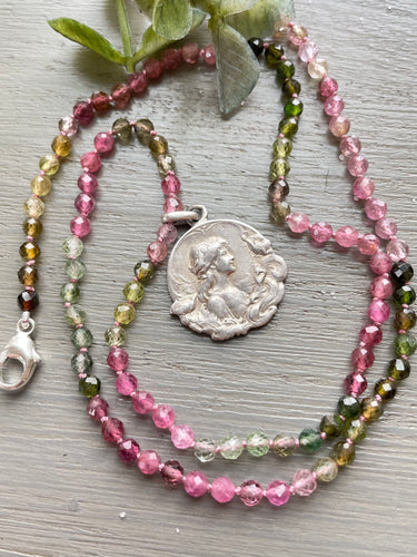Art Nouveau Maiden Medal Tourmaline Necklace