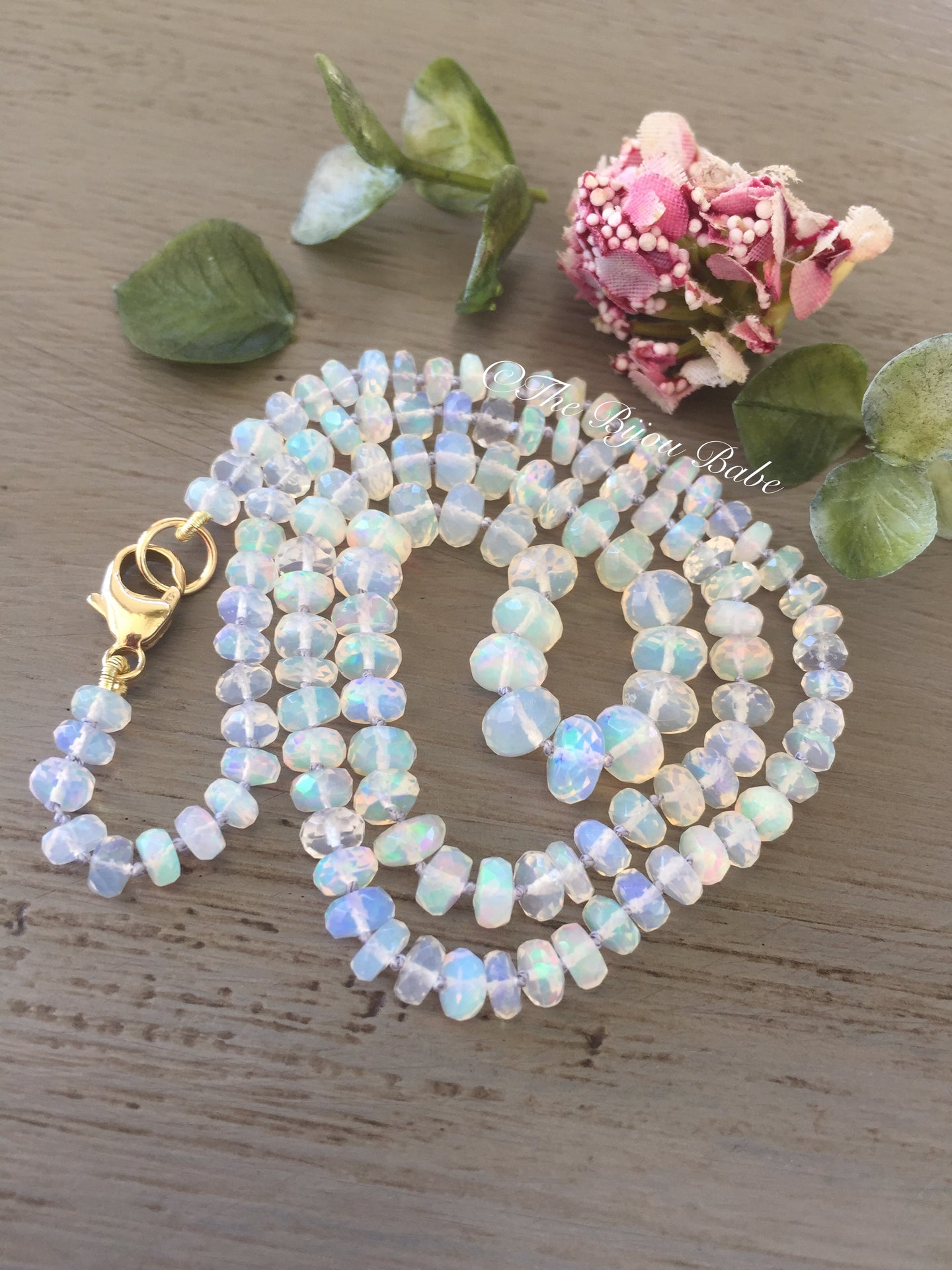 14k Faceted Ethiopian Opal Necklace Layaway for Natalie