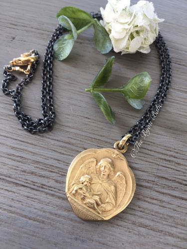 Rare Antique French Guardian Angel Medal