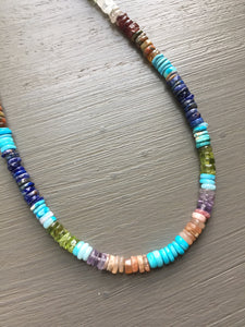 Multi Gemstone Color Wheel Necklace