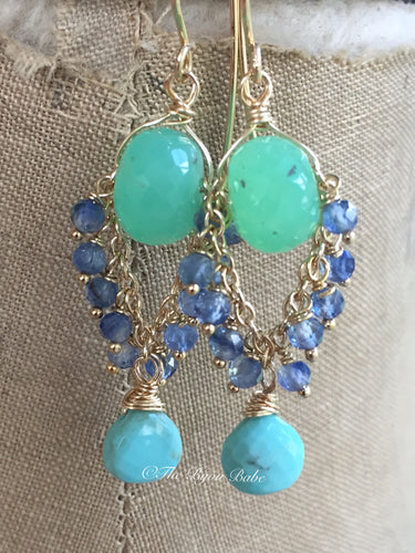 Chrysoprase Chandelier Earrings