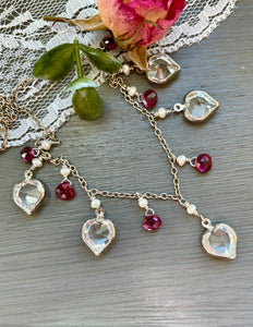 Reserved for Bev-Vintage Swarovski Crystal Heart Necklace