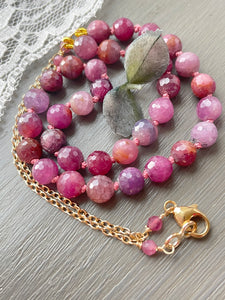 Ruby and Sapphire Rustic Necklace