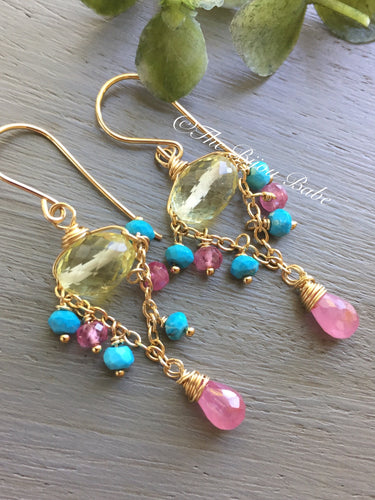 Lemon Quartz and Pink Sapphire Chandelier Earrings
