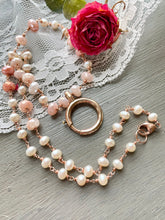 Load image into Gallery viewer, Reserved for Mee-Peach Moonstone and Pearl with Antique Bolt Clasp