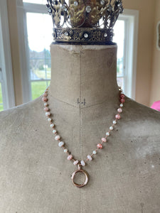Reserved for Mee-Peach Moonstone and Pearl with Antique Bolt Clasp