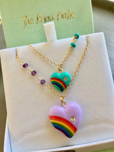 Vintage Rainbow Heart Necklace
