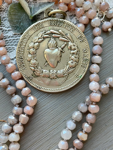 Sacred Heart Medal on Mystic Moonstone