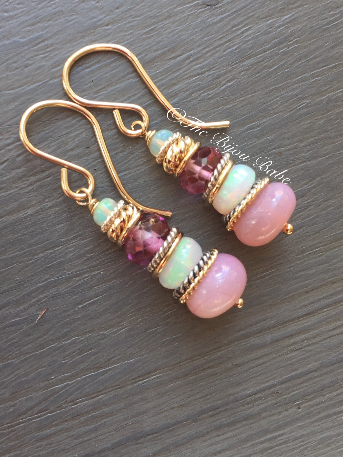 Pink Peruvian Opal Candy Earrings