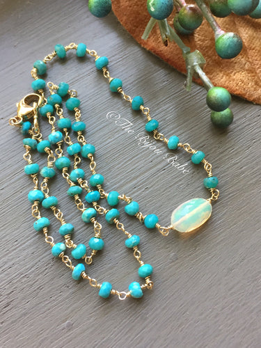 Sleeping Beauty Turquoise and Ethiopian Opal Necklace