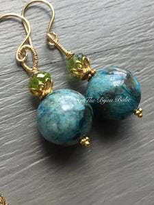 Chrysocolla Orb Earrings