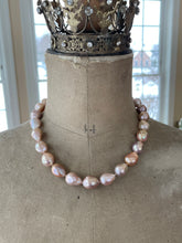 Load image into Gallery viewer, Baroque Pearl Necklace Pavé Diamond Clasp