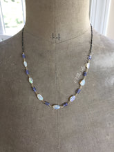 Load image into Gallery viewer, Ethiopian Opal Nugget and Tanzanite Necklace with Satellite Chain