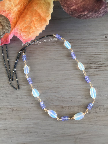Ethiopian Opal Nugget and Tanzanite Necklace with Satellite Chain