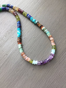 Multi Gemstone Color Wheel Necklace-Reserved for Michele