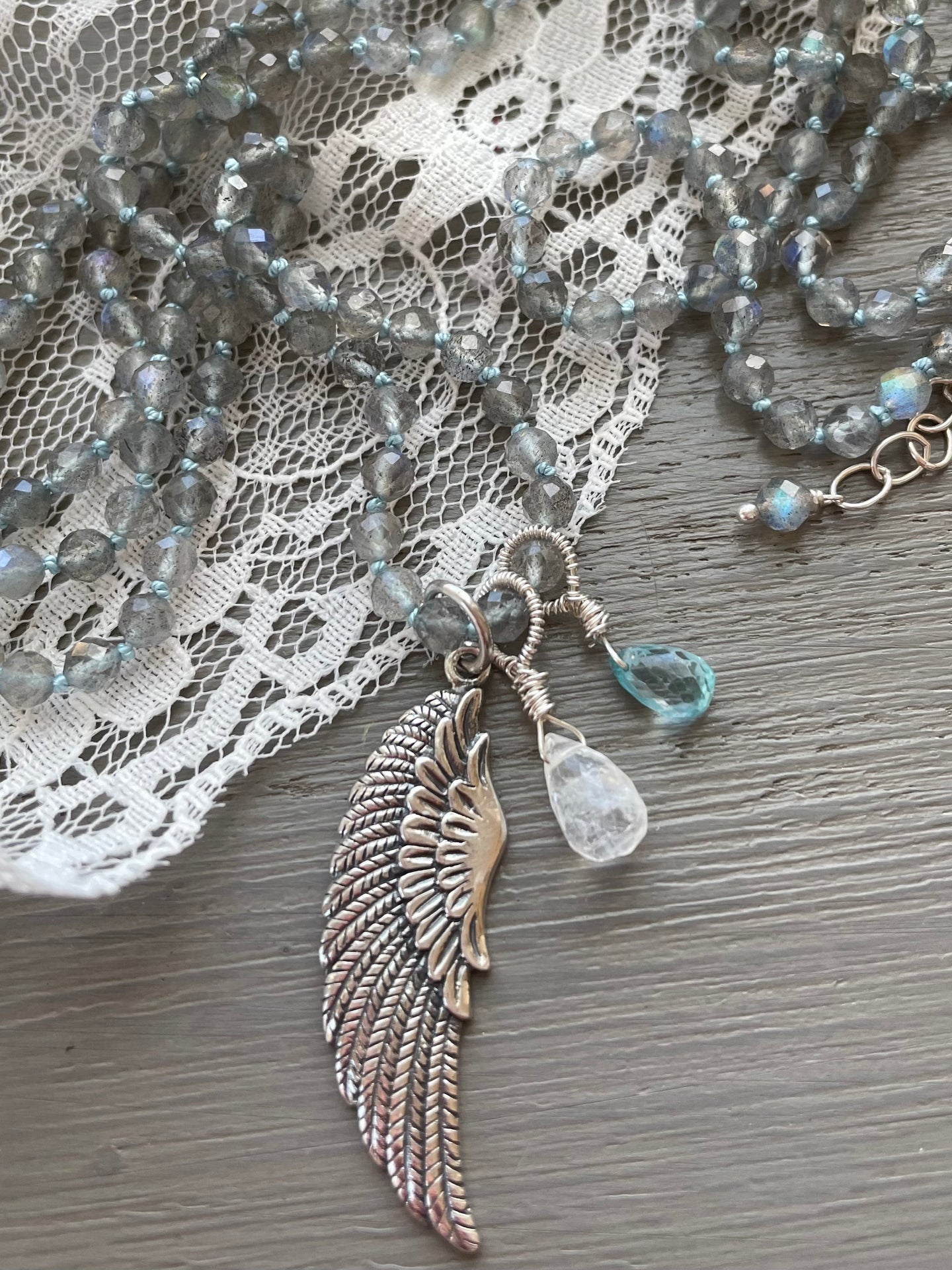 Angel Wing Charm Talisman Necklace-Reserved for Bev