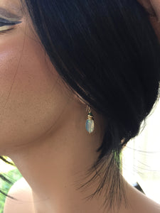 Ethiopian Opal Nugget Earrrings with Emerald