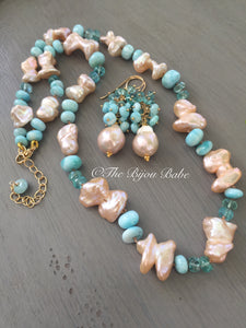 Larimar and Pearl Hand Knotted Silk Necklace