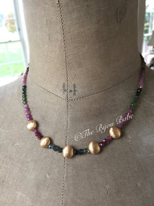 Multi Tourmaline Coin Necklace