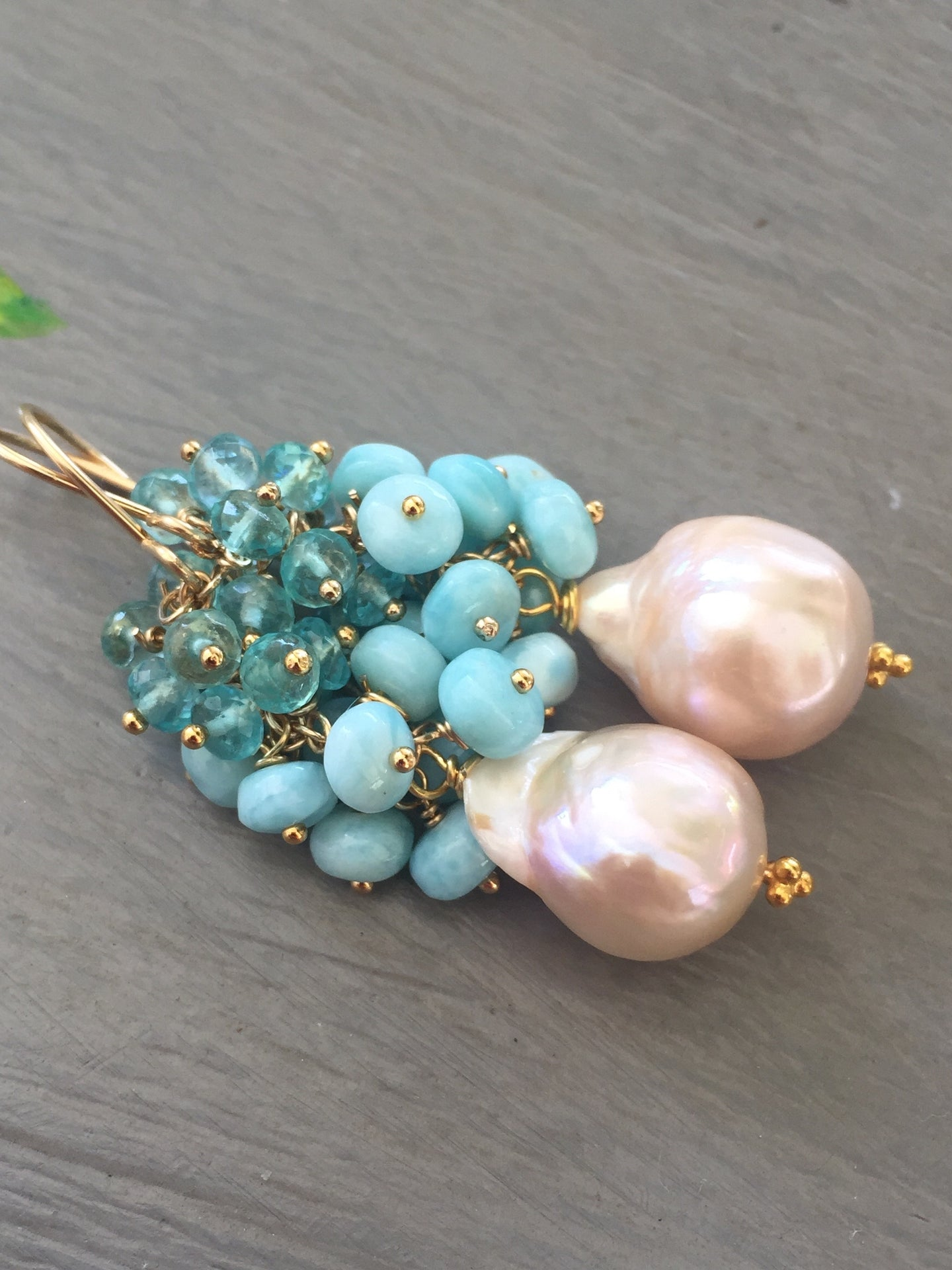 Baroque Pearl Earrings with Larimar