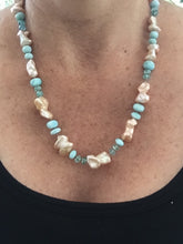 Load image into Gallery viewer, Larimar and Pearl Hand Knotted Silk Necklace