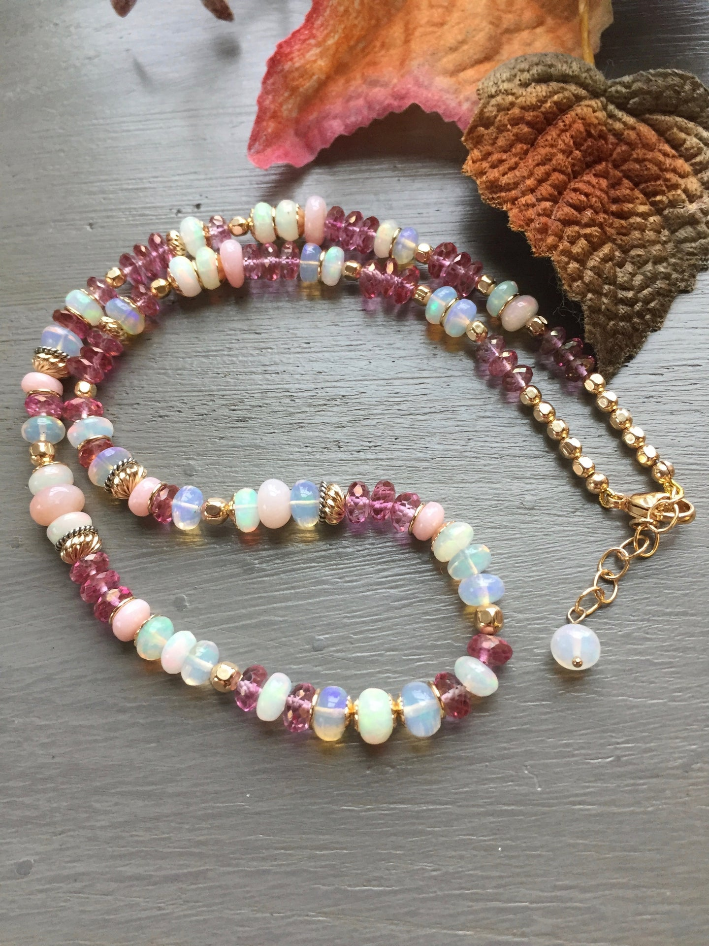Ethiopian Opal, Pink Topaz and Pink Opal Necklace