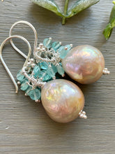 Load image into Gallery viewer, Edison Pearl with Aquamarine Earrings