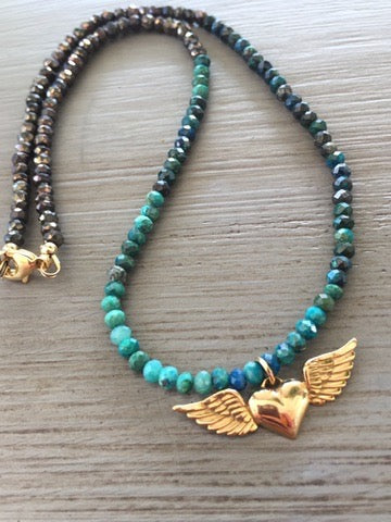 Winged Heart Pendant with Chrysocolla