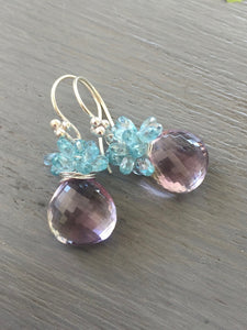 Pink Amethyst Cluster Earrings