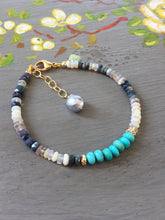 Load image into Gallery viewer, Sleeping Beauty Turquoise and Australian Opal Stack bracelet