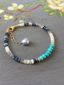 Sleeping Beauty Turquoise and Australian Opal Stack bracelet