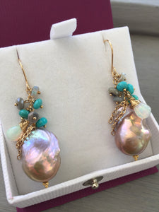 Baroque Pearl Earrings Sleeping Beauty Turquoise Ethiopian Opal