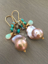 Load image into Gallery viewer, Baroque Pearl Earrings Sleeping Beauty Turquoise Ethiopian Opal