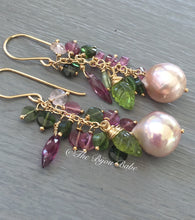 Load image into Gallery viewer, Edison Pearl and Tourmaline Tassel Earrings