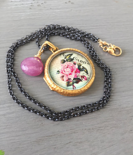 Antique French Locket Language of Flowers 13