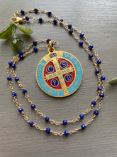 Load image into Gallery viewer, Custom Lapis Necklace St. Benedict Medal for Jazmine
