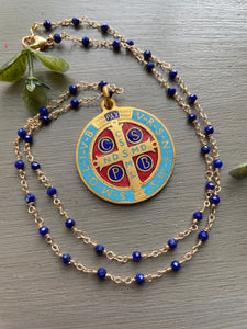 Custom Lapis Necklace St. Benedict Medal for Jazmine