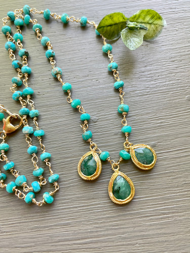 Emerald and Sleeping Beauty Turquoise Necklace