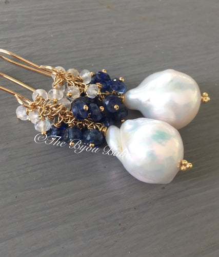 Baroque Pearl Earrings with Kyanite and Rainbow Moonstone