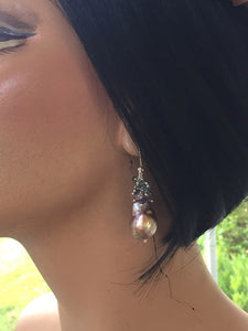 Pondslime Baroque Pearls with Sapphire Earrings